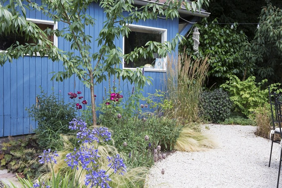 Blauw tuinhuis